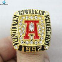 1992 Alabama Crimson Tide National Championship Ring Enamal Crystal Gold Pleated Ring Men Jewelry