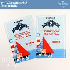 Invitaciones para Cumpleaños estilo Nautico. #imprimible #osito #marinero