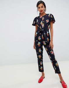 67107239e3 Oasis jumpsuit with ruffle cap sleeves in floral print | ASOS Oasis,  Clothes, Dresses