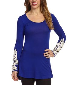 Another great find on #zulily! Dark Blue Embroidered Scoop Neck Tunic - Women #zulilyfinds