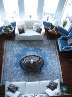 """Love this rug!!! Also, contrast dark floors with whites and blues. """"Joyce's """"Coastal Blues"""" Room 