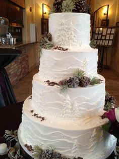 White frosted cake with mountains and pine trees, perfect for an outdoor colorado wedding! : White frosted cake with mountains and pine trees, perfect for an outdoor colorado wedding! Tree Wedding, Wedding Ceremony, Wedding Ideas, Wedding White, Wedding Poses, Wedding Pictures, Wedding Details, Wedding Dresses, Christmas Wedding Cakes