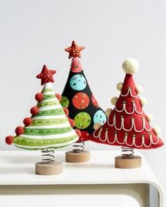Garnet Hill Festive Standing Trees Set of Three - modern - Christmas Decorations - Garnet Hill