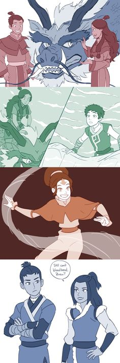 Some headcanons about the opposite element AU. In this AU the Water Tribes attacked and wiped out the Earth Kingdom, making Aang the last earthbender. The Northern and Southern Air Temples were conquered by the Water Tribes; the Western Air Temple formed an alliance with the Fire Nation and the Eastern Air Temple is neutral, the Air Nomads eventually spreading out across the fallen Earth Kingdom building graves and temples. When Sokka and Katara are on a Fire Nation ship heading to the…