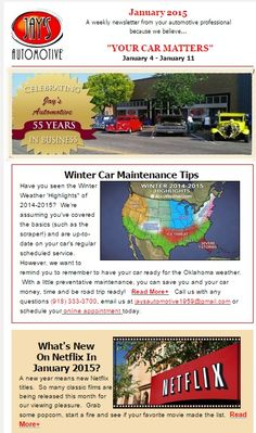 #YourCarMatters - Jay's Automotive's Weekly Newsletter is filled with fun and #didyouknow ideas for #2015! Did you purchase a bling ring for your cell? Great tip how to save money and actually take a vacation this year! #AutoCare #BudgetMadeEasy #DonateBlood #CrazyTechnology #Netflix