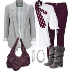 Outfit with colored skinny jeans. I don't particularly like the tie, but I love the rest of it!