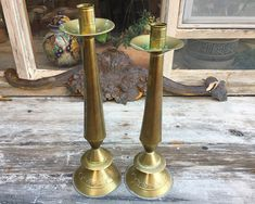 Pair of Tall Mexican Gold Tone Tin Candleholders Tabletop Floor, Hacienda Inspired Southwest Decor Candleholders, Candlestick Holders, Candlesticks, 90 Day Plan, Southwest Decor, Hacienda Style, Spanish Style, Brass Color, Tabletop