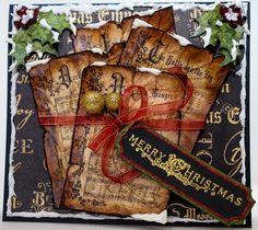 "Christmas Carols card using Graphic 45 12"" x 12"" ""Christmas Emporium Collection"" paper."