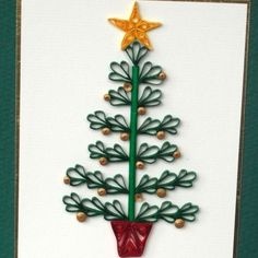 Christmas card, quilled tree