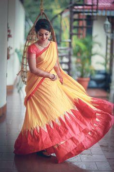 Saree is the only dress that enhances the beauty and sex appeal of an Indian woman. Set Saree, Half Saree Lehenga, Lehenga Saree Design, Bollywood Lehenga, Lehnga Dress, Lehenga Blouse, Bridal Lehenga, Kerala Saree Blouse Designs, Half Saree Designs