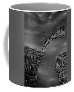 Tiger Coffee Mug featuring the drawing The Leap by Faye Anastasopoulou