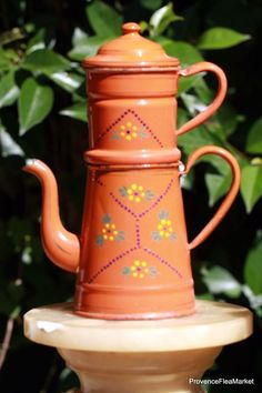 ANTIQUE FRENCH ENAMELWARE BIGGIN COFFEE POT GRANITEWARE ORANGE FLORAL