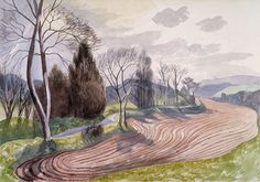 Watercolour on paper, c.1945 – printed to original size. This, in many ways, is quintessential Nash – as too, it is so recognisably the English countryside. Although two of Nash's most famous masterpieces were done in oil – his Oppy Wood and Over the Top – Nash preferred watercolour. Watercolour has a gentleness and a …
