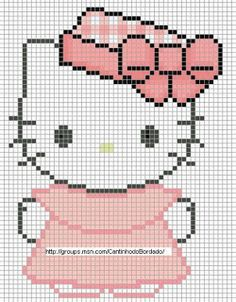 Free Hello Kitty in Pink Dress Cross Stitch Chart or Hama Perler Bead Pattern