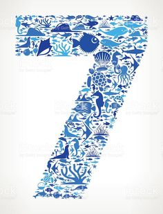 Number 7 Ocean Marine Life Blue Icon Pattern These blue and aqua flat. Seven Logo, 7 Tattoo, Se7en, World Water Day, Free Vector Art, Marine Life, Framed Wall Art, Tribal Tattoos, Watercolor Art