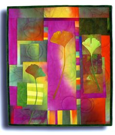 Art quilt by Melody Johnson. Make a skinny long ginko quilt