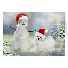 Hermes the Maltese Christmas Greeting Card - New Year's Eve happy new year designs party celebration Saint Sylvester's Day
