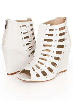 e08d3920bc1 Ashley Stewart Web Exclusive Faux Leather Gladiator Wedge Booties Summer  Wedges