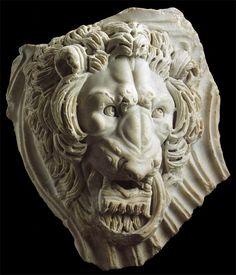 An important Roman marble lion head from a strigilated sarcophagus, 3rd century A.D.