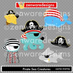 Pirate Sea Creatures Clipart by ZenwareDesigns on Etsy Pirate Hats, Pirate Theme, Starfish Clipart, Zen, Image Paper, Art Craft Store, Boy First Birthday, Sea Creatures, Under The Sea
