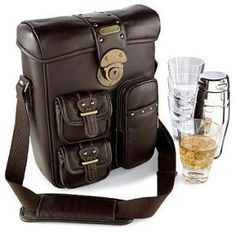 Portable Leather Cocktail Bag  This leather cocktail bag is the perfect companion for anyone who likes to party with a cocktail in hand, no matter where he is or what time of the day it is! And of course it is a must-have for all the bartenders.  #cocktail #bag #bartender #galoo
