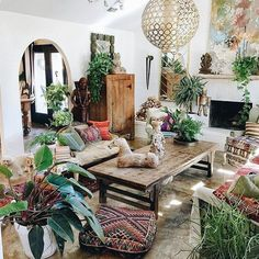 Image result for natural wood interior design with boho accessories