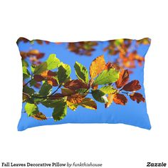 Fall Leaves Decorative Pillow. Fall Leaves pillow that shows brightness, beauty and clear skies on a beautiful fall day. #falldecor #pillows #homedecorideas #afflnk