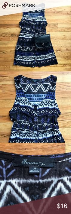 "Cute tribal print button up sundress FOREVER 21 Super cute sundress in like new condition! Never worn. Black, brown, blue, and cream tribal print. Goes with everything. Measures about 34"" long and 18"" armpit to armpit. Forever 21 Dresses"