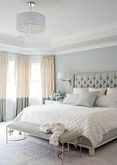 Einfache Wandfarbe Grau Im Schlafzimmer Erker Schlafzimmer, Gemütliches  Schlafzimmer, Wohnzimmer, Moderne Gardinen,