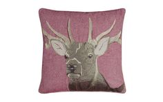 Stag Design Cranberry Wool Mix Cushion at Laura Ashley