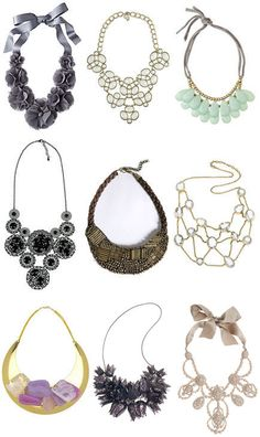Bib necklaces. Pair it with a sweater, vneck, and jeans for a casual and chic look.