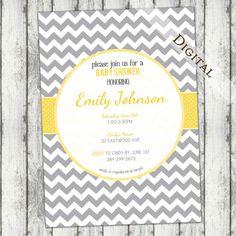 Chevron Baby Shower Invitation Boy Baby Shower Invitation, gender neutral, grey and yellow, digital, printable file (item109)