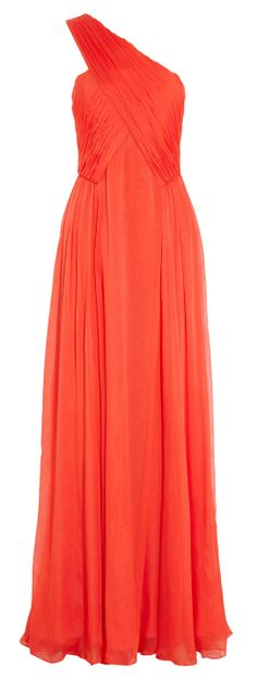 Coral silk gown