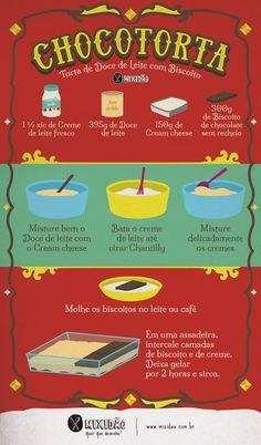 Receita ilustrada de Chocotorta, um doce argentino com 4 ingredientes, muito fácil e rápido de fazer. Não vai ao forno. Ingredientes: Creme de leite fresco, Doce de leite, Cream cheese e biscoito