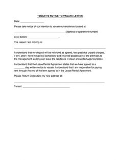 60 day notice letter fill out and sign printable pdf template signnow letter of intent to vacate apartment template