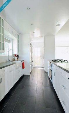 46 Ideas for kitchen tile floor ideas slate floor kitchen 46 Ideas for kitchen tile floor ideas slate Slate Floor Kitchen, Dark Kitchen Floors, Kitchen Redo, Kitchen Tiles, Kitchen Flooring, New Kitchen, Kitchen Remodel, Kitchen Countertops, Dark Counters