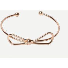 Golden Open Cuff Bow Bracelet ($3.99) ❤ liked on Polyvore featuring jewelry, bracelets, gold, bow bangle, gold jewellery, golden bangles, golden jewelry and cuff jewelry