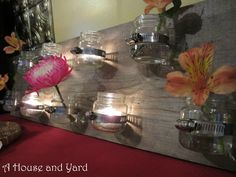 Bud vase votive holder from reclaimed wood by A House and Yard featured on Funky Junk Interiors