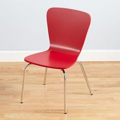 Kids' Desk Chairs: Kids Painted Red Chair with Metal Legs in Play Chairs