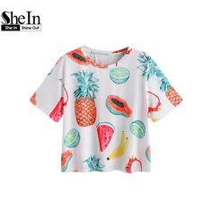 Shein femme de mode 2017 d'été femmes t shirt allover fruit impression à manches courtes t shirt t shirts décontractés t shirt dans T-Shirts de Femmes de Vêtements et Accessoires sur AliExpress.com | Alibaba Group