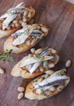 crostini cannellini and white anchovies.