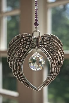 Angel's Wings Suncatcher, Large Antiqued Silver-Plated Wings with 20mm Swarovski Crystal Ball, Swarovski Beaded Strand in Amethyst