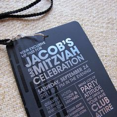 Modern Bar Mitzvah Invitation These VIP passes make great party invitations