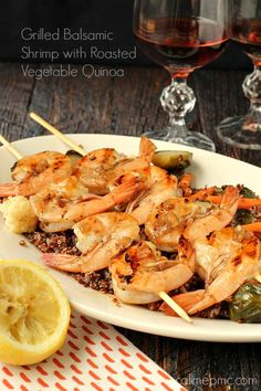 Grilled Balsamic Shrimp with Roasted Vegetable Quinoa full of flavor but doesn't take hours to prepare! Simple yet flavorful, its sure to become a favorite!