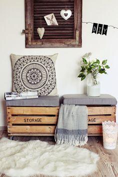 Doze ideias pra usar os caixotes de feira na decoração