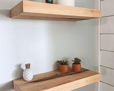 Walnut Floating Shelf Custom Length Depth and Finish Color | Etsy Rustic Wood Floating Shelves, Floating Shelf Hardware, Floating Shelves Kitchen, Bar Shelves, Deep Shelves, Hanging Shelves, Kitchen Shelves, Wood Shelves, Kitchen Dishes