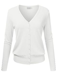 JJ Perfection Women's V-Neck Button Down Long Sleeve Knit Cardigan Sweater