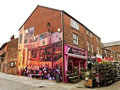 Mural depicting Elizabethan theatre in Prescot, there once was a theatre like that in the town! Elizabethan Theatre, Sweet Nothings, Photo Credit, Liverpool, Past, Street View, Past Tense
