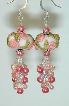 Seashell Coral ROSES Handmade EARRINGS Peachy PINK Roses