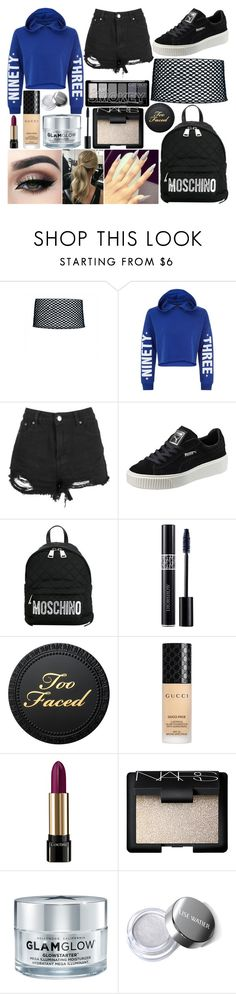 """School Day"" by susanna-trad on Polyvore featuring New Look, Boohoo, Puma, Moschino, Tiger Mist, Christian Dior, Gucci, Lancôme, NARS Cosmetics and GlamGlow"